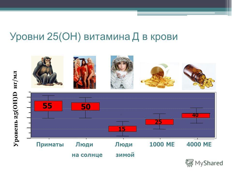A Уровни 25(ОН) витамина Д в крови Приматы Люди Люди 1000 МЕ 4000 МЕ на солнце зимой 55 50 15 25 40