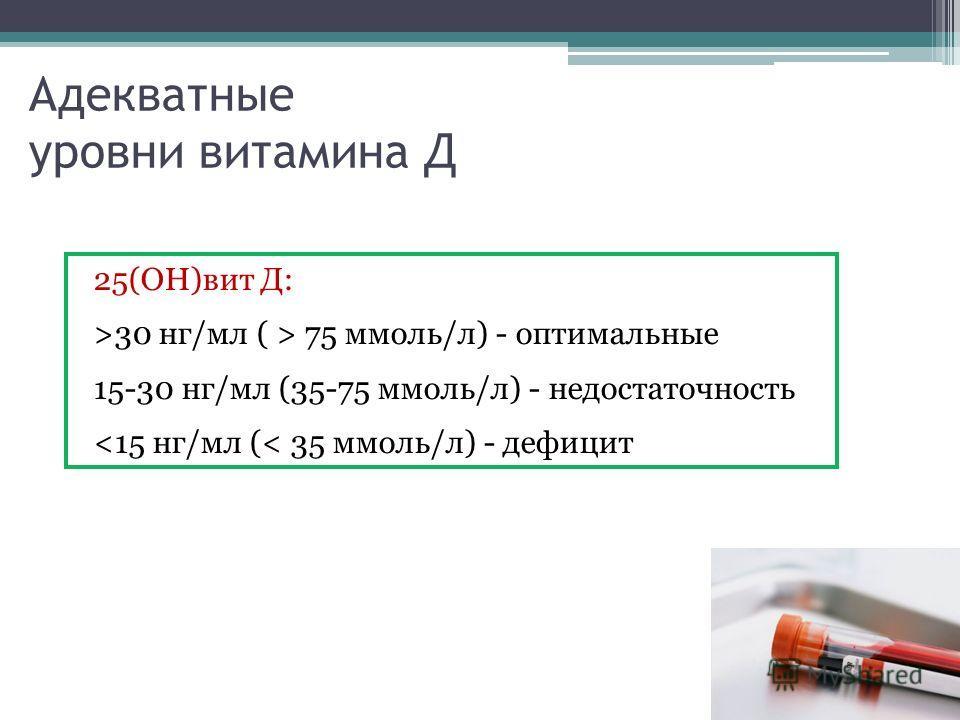 Адекватные уровни витамина Д 25(ОН)вит Д: >30 нг/мл ( > 75 ммоль/л) - оптимальные 15-30 нг/мл (35-75 ммоль/л) - недостаточность