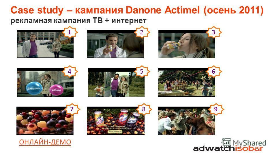 Case study – кампания Danone Actimel (осень 2011) рекламная кампания ТВ + интернет 15 123 456 789 ОНЛАЙН-ДЕМО