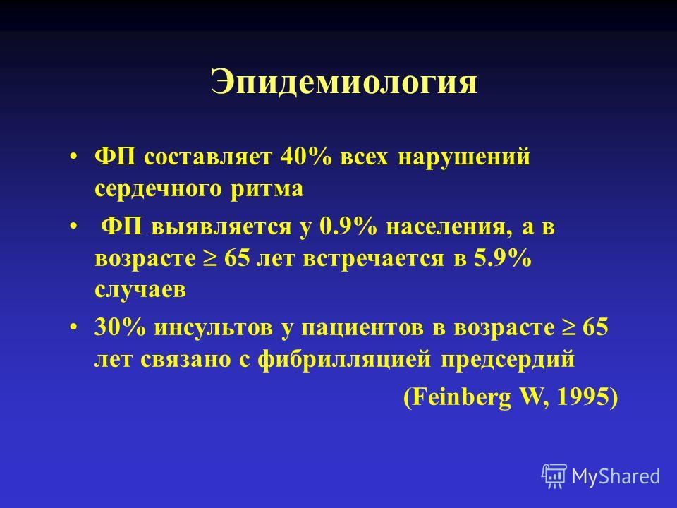 Эпидемиология ФП составляет 40% всех нарушений сердечного ритма ФП выявляется у 0.9% населения, а в возрасте 65 лет встречается в 5.9% случаев 30% инсультов у пациентов в возрасте 65 лет связано с фибрилляцией предсердий (Feinberg W, 1995)