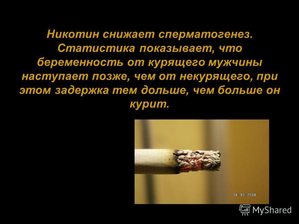 Никотин снижает сперматогенез. Статистика показывает, что беременность от курящего мужчины наступает позже, чем от некурящего, при этом задержка тем дольше, чем больше он курит.