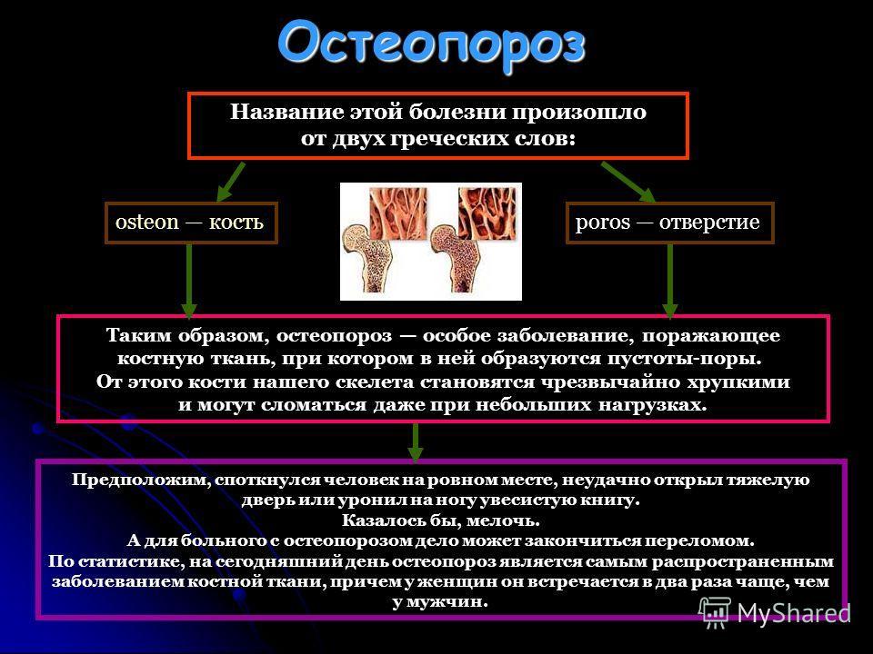 Остеопороз Таким образом, остеопороз особое заболевание, поражающее костную ткань, при котором в ней образуются пустоты-поры. От этого кости нашего скелета становятся чрезвычайно хрупкими и могут сломаться даже при небольших нагрузках. Название этой