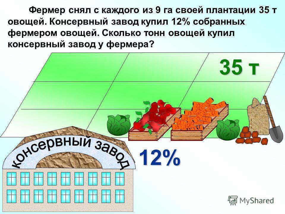 Фермер снял с каждого из 9 га своей плантации 35 т овощей. Консервный завод купил 12% собранных фермером овощей. Сколько тонн овощей купил консервный завод у фермера? 35 т 12%
