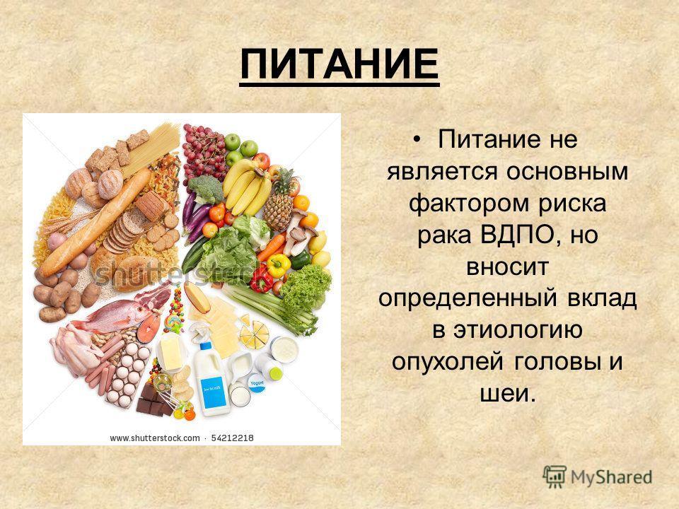 ПИТАНИЕ Питание не является основным фактором риска рака ВДПО, но вносит определенный вклад в этиологию опухолей головы и шеи.