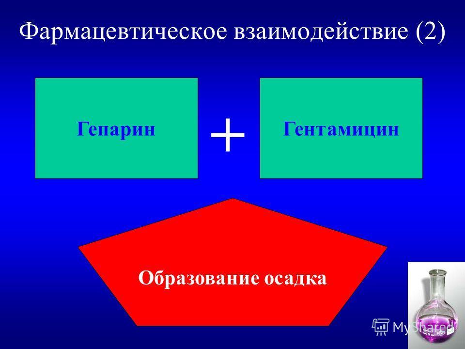 Фармацевтическое взаимодействие (2) Гепарин Гентамицин Образование осадка +