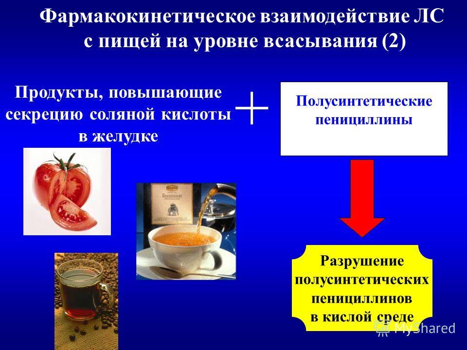 Фармакокинетическое взаимодействие ЛС с пищей на уровне всасывания (2) Продукты, повышающие секрецию соляной кислоты в желудке Полусинтетические пенициллины + Разрушение полусинтетических пенициллинов в кислой среде