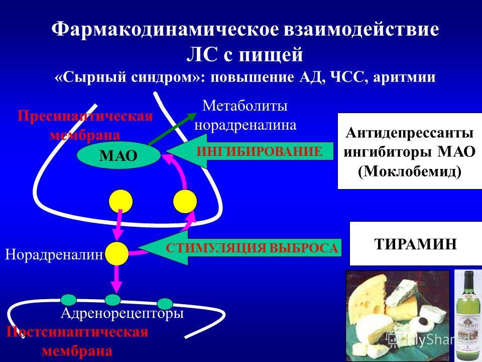 Фармакодинамическое взаимодействие ЛС с пищей «Сырный синдром»: повышение АД, ЧСС, аритмии Пресинаптическая мембрана Постсинаптическая мембрана Адренорецепторы МАО Норадреналин Метаболиты норадреналина ИНГИБИРОВАНИЕ Антидепрессанты ингибиторы МАО (Мо