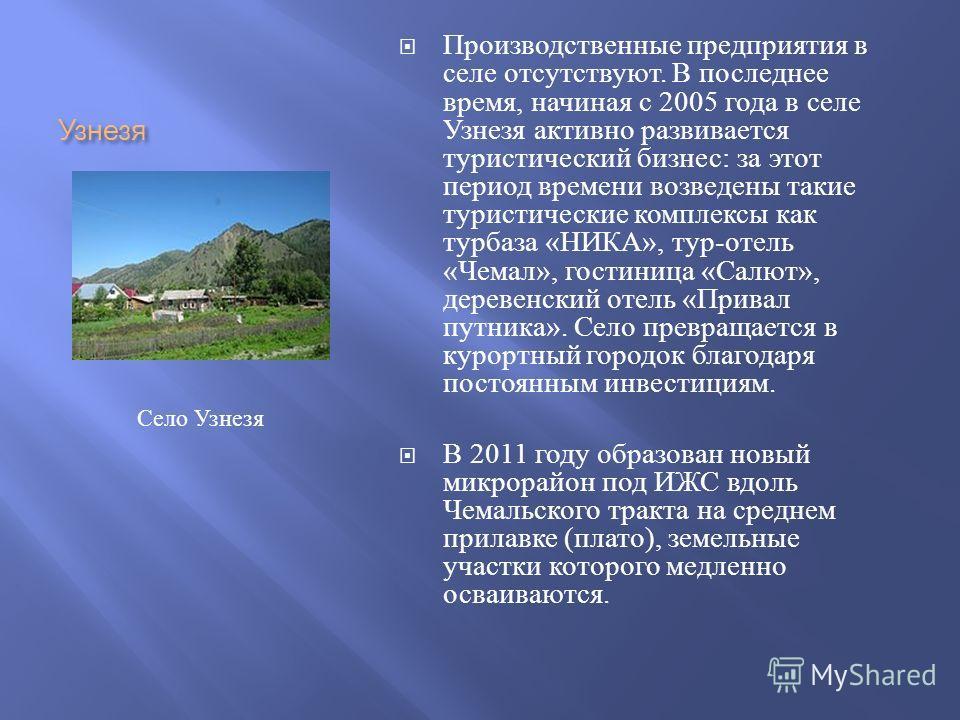 Узнезя Производственные предприятия в селе отсутствуют. В последнее время, начиная с 2005 года в селе Узнезя активно развивается туристический бизнес : за этот период времени возведены такие туристические комплексы как турбаза « НИКА », тур - отель «