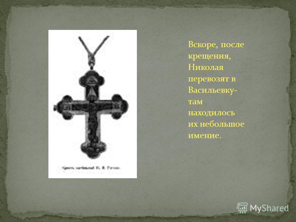 Вскоре, после крещения, Николая перевозят в Васильевку- там находилось их небольшое имение.