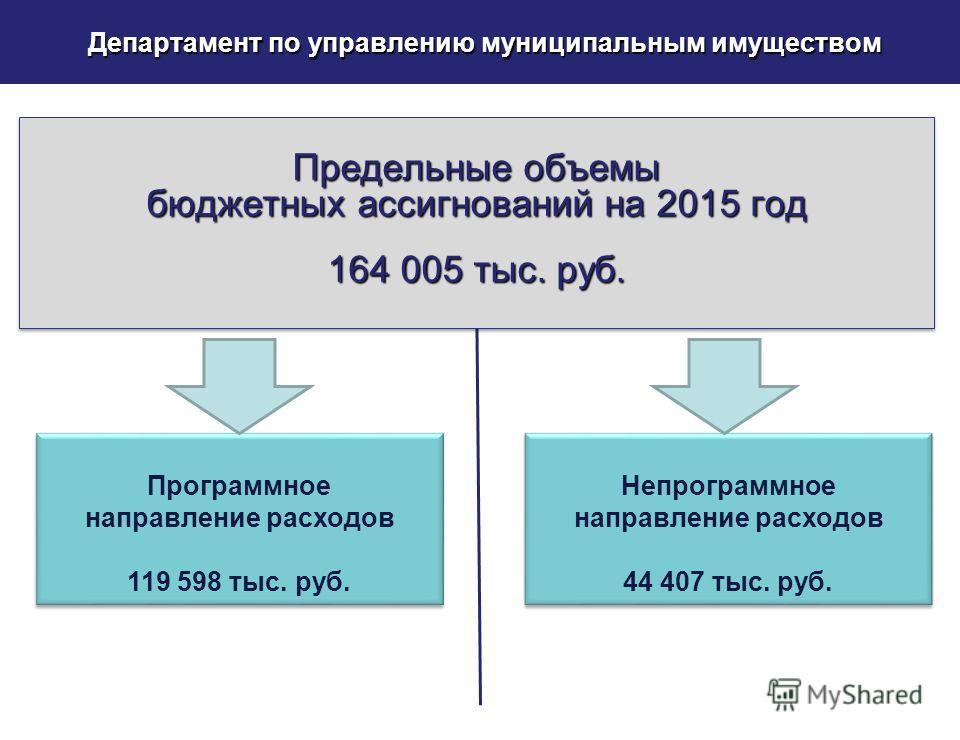 Департамент по управлению муниципальным имуществом Программное направление расходов 119 598 тыс. руб. Программное направление расходов 119 598 тыс. руб. Предельные объемы бюджетных ассигнований на 2015 год 164 005 тыс. руб. Предельные объемы бюджетны