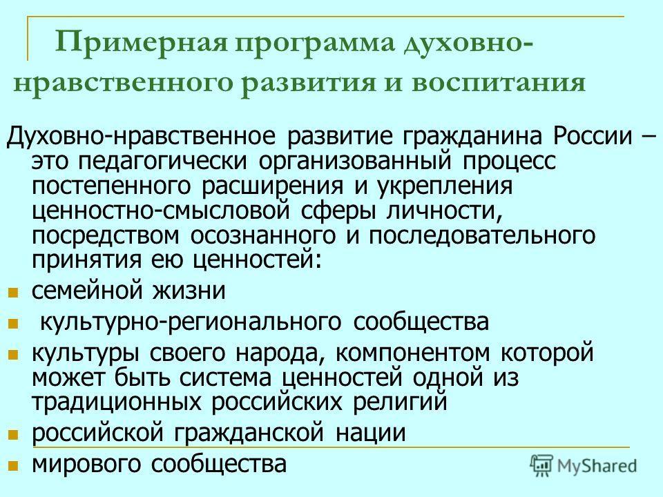 Примерная программа духовно- нравственного развития и воспитания Духовно-нравственное развитие гражданина России – это педагогически организованный процесс постепенного расширения и укрепления ценностно-смысловой сферы личности, посредством осознанно
