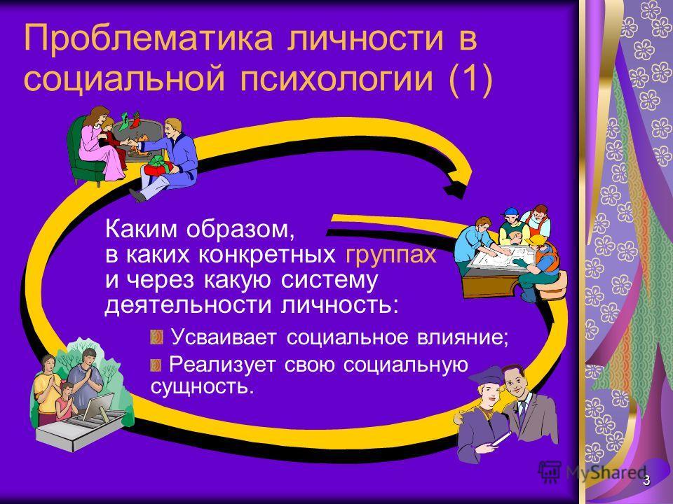3 Проблематика личности в социальной психологии (1) Каким образом, в каких конкретных группах и через какую систему деятельности личность: Усваивает социальное влияние; Реализует свою социальную сущность.