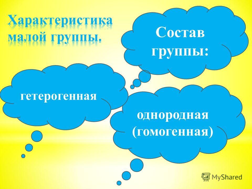 однородная (гомогенная) гетерогенная Состав группы: