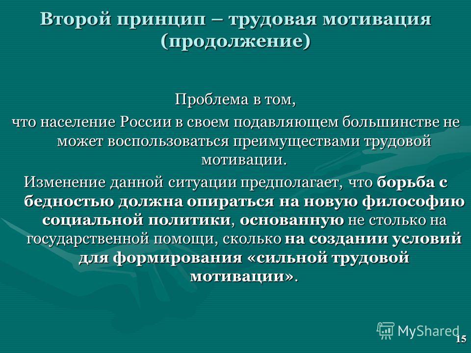 Второй принцип – трудовая мотивация (продолжение) Проблема в том, что население России в своем подавляющем большинстве не может воспользоваться преимуществами трудовой мотивации. Изменение данной ситуации предполагает, что борьба с бедностью должна о