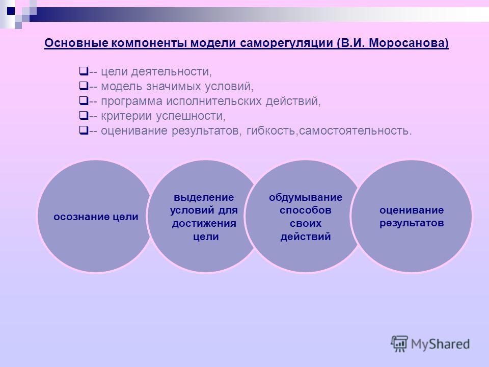 Основные компоненты модели саморегуляции (В.И. Моросанова) -- цели деятельности, -- модель значимых условий, -- программа исполнительских действий, -- критерии успешности, -- оценивание результатов, гибкость,самостоятельность. осознание цели выделени