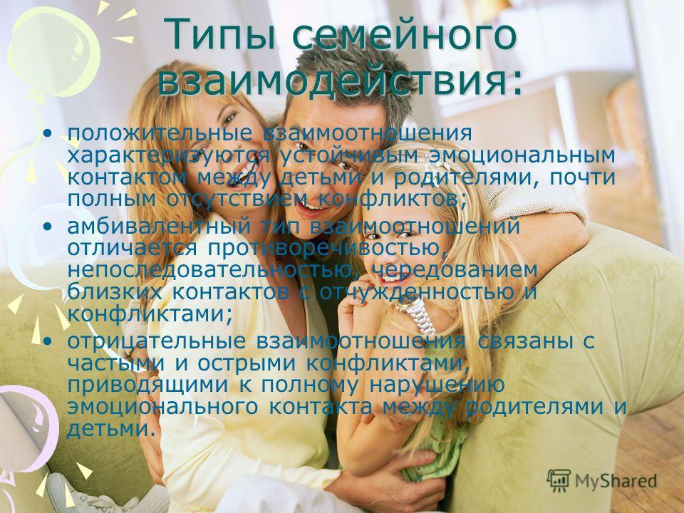 Типы семейного взаимодействия: положительные взаимоотношения характеризуются устойчивым эмоциональным контактом между детьми и родителями, почти полным отсутствием конфликтов; амбивалентный тип взаимоотношений отличается противоречивостью, непоследов