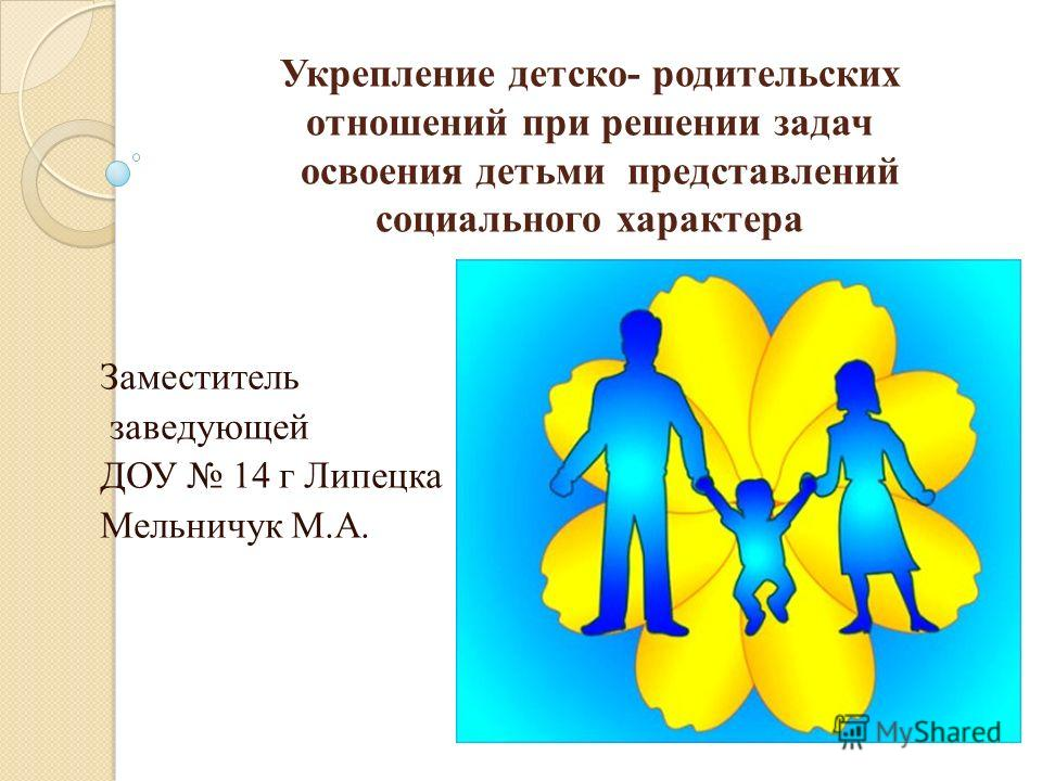Укрепление детско- родительских отношений при решении задач освоения детьми представлений социального характера Заместитель заведующей ДОУ 14 г Липецка Мельничук М.А.