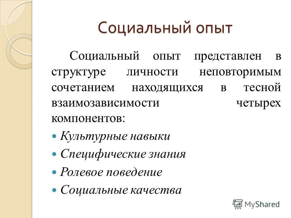 Социальный опыт Социальный опыт представлен в структуре личности неповторимым сочетанием находящихся в тесной взаимозависимости четырех компонентов: Культурные навыки Специфические знания Ролевое поведение Социальные качества