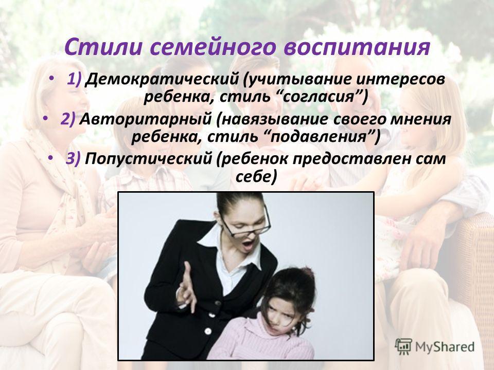 Стили семейного воспитания 1) Демократический (учитывание интересов ребенка, стиль согласия) 2) Авторитарный (навязывание своего мнения ребенка, стиль подавления) 3) Попустический (ребенок предоставлен сам себе)