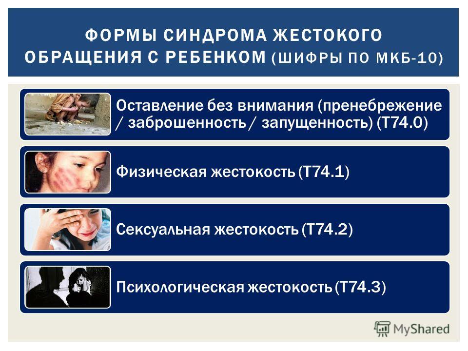 Оставление без внимания (пренебрежение / заброшенность / запущенность) (Т74.0) Физическая жестокость (Т74.1) Сексуальная жестокость (Т74.2) Психологическая жестокость (Т74.3) ФОРМЫ СИНДРОМА ЖЕСТОКОГО ОБРАЩЕНИЯ С РЕБЕНКОМ (ШИФРЫ ПО МКБ-10)
