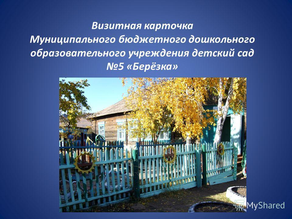 Визитная карточка Муниципального бюджетного дошкольного образовательного учреждения детский сад 5 «Берёзка»