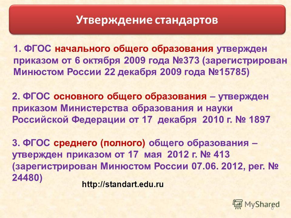 6 2. ФГОС основного общего образования – утвержден приказом Министерства образования и науки Российской Федерации от 17 декабря 2010 г. 1897 3. ФГОС среднего (полного) общего образования – утвержден приказом от 17 мая 2012 г. 413 (зарегистрирован Мин