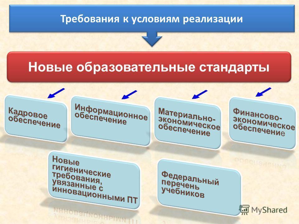 Новые образовательные стандарты Требования к условиям реализации