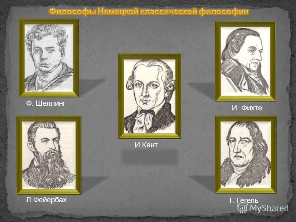 И. Фихте Ф. ШеллингГ. Гегель Л.Фейербах И.Кант
