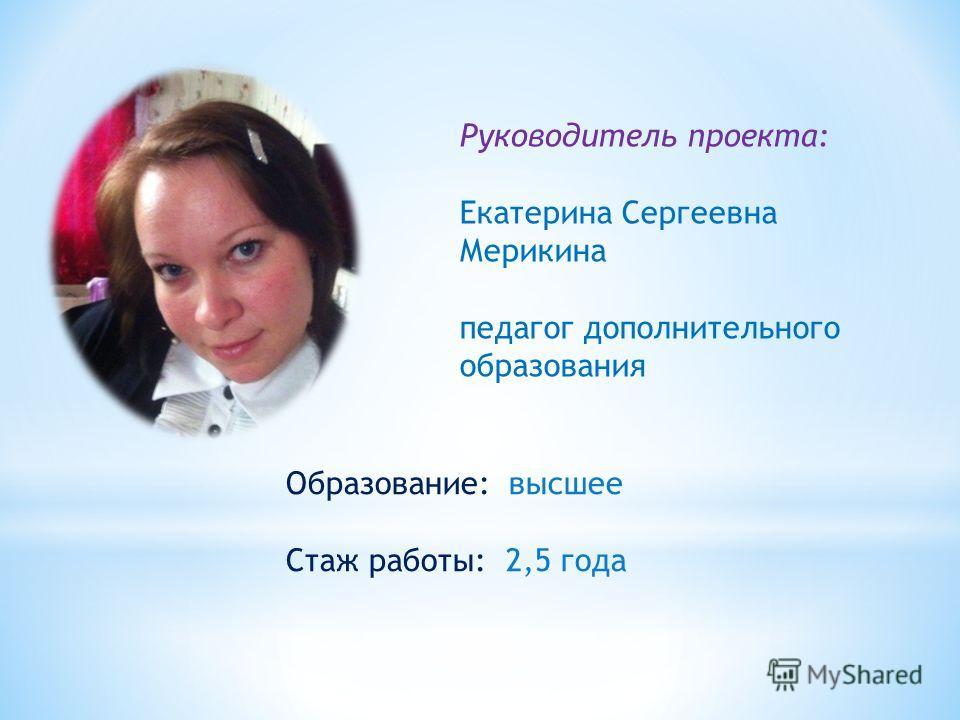 Руководитель проекта: Екатерина Сергеевна Мерикина педагог дополнительного образования Образование: высшее Стаж работы: 2,5 года