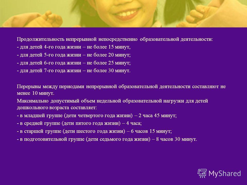 Продолжительность непрерывной непосредственно образовательной деятельности: - для детей 4-го года жизни – не более 15 минут, - для детей 5-го года жизни – не более 20 минут; - для детей 6-го года жизни – не более 25 минут; - для детей 7-го года жизни