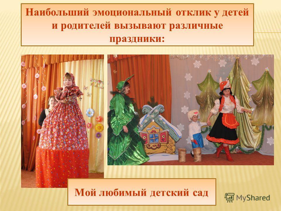 Наибольший эмоциональный отклик у детей и родителей вызывают различные праздники: Мой любимый детский сад