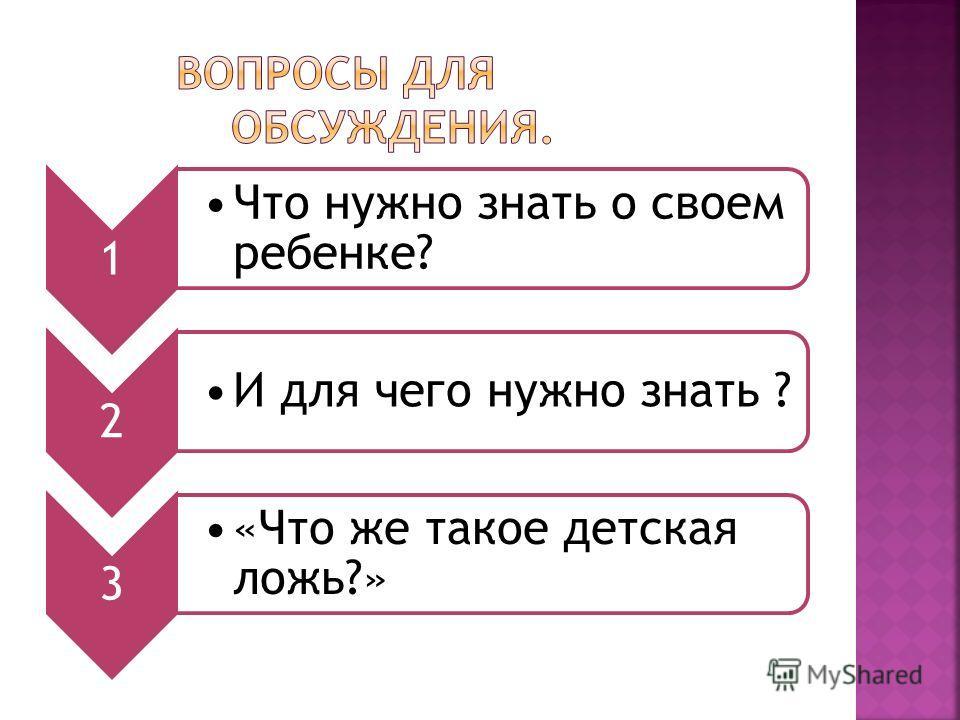 1 Что нужно знать о своем ребенке? 2 И для чего нужно знать ? 3 «Что же такое детская ложь?»