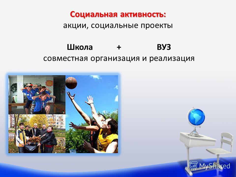 Социальная активность: Социальная активность: акции, социальные проекты Школа + ВУЗ совместная организация и реализация