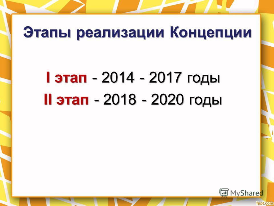 Этапы реализации Концепции I этап - 2014 - 2017 годы II этап - 2018 - 2020 годы