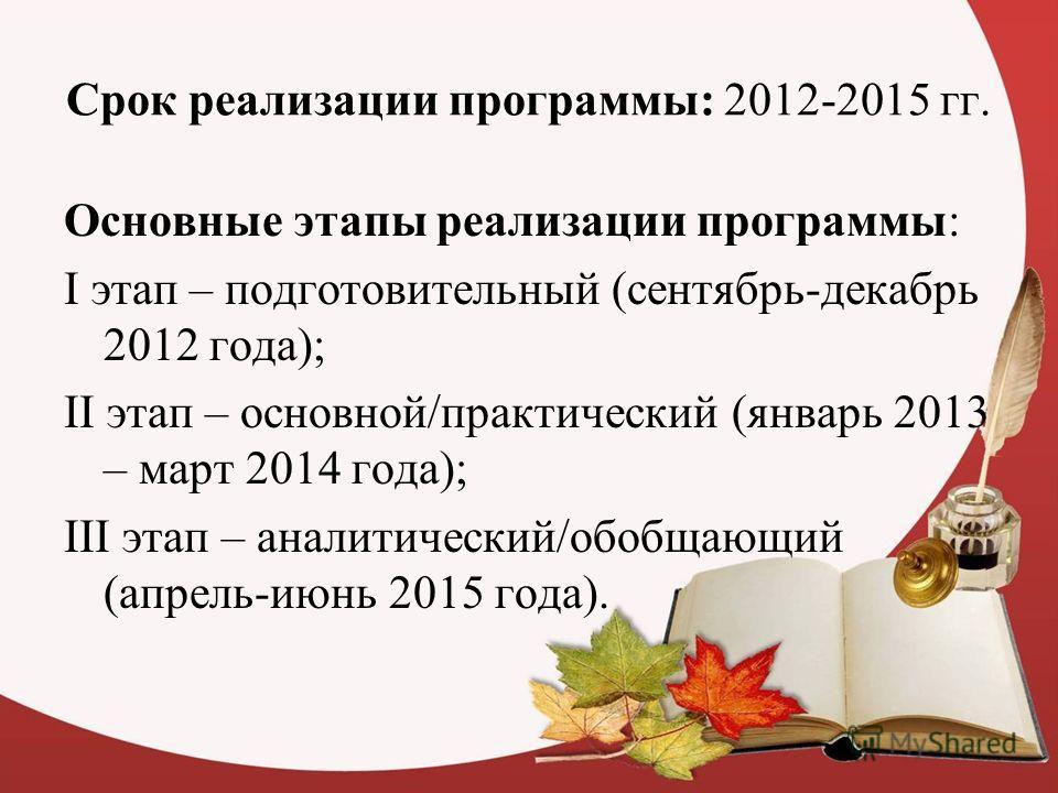Срок реализации программы: 2012-2015 гг. Основные этапы реализации программы: I этап – подготовительный (сентябрь-декабрь 2012 года); II этап – основной/практический (январь 2013 – март 2014 года); III этап – аналитический/обобщающий (апрель-июнь 201