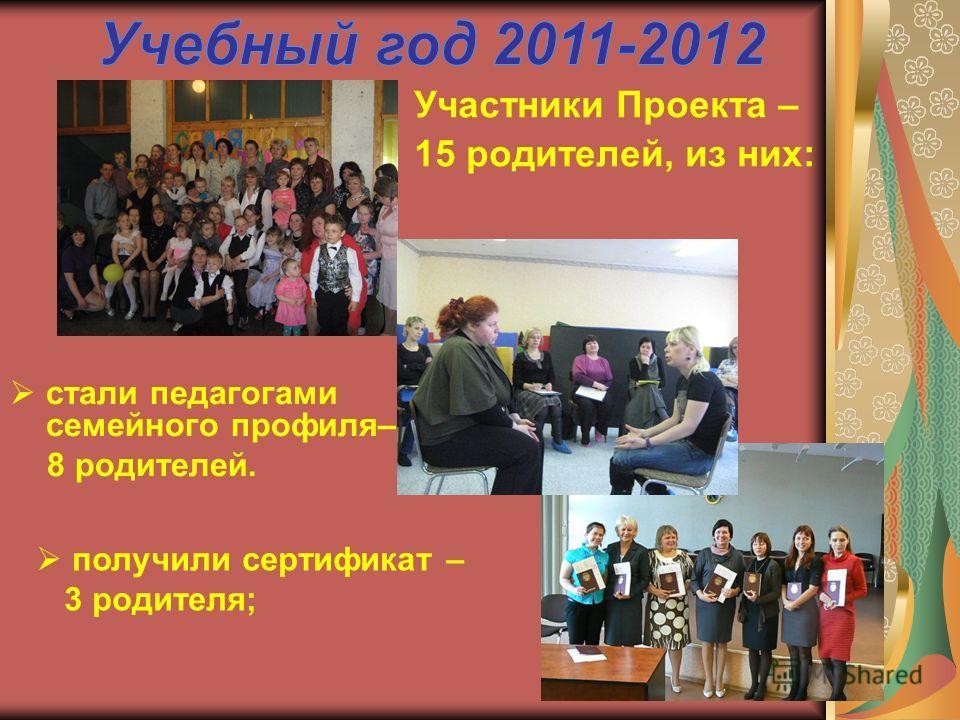 стали педагогами семейного профиля– 8 родителей. Участники Проекта – 15 родителей, из них: получили сертификат – 3 родителя;