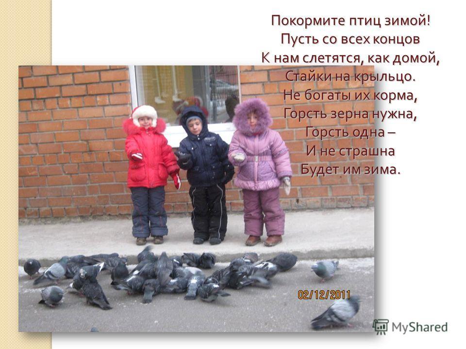 Покормите птиц зимой! Пусть со всех концов К нам слетятся, как домой, Стайки на крыльцо. Не богаты их корма, Горсть зерна нужна, Горсть одна – И не страшна Будет им зима.