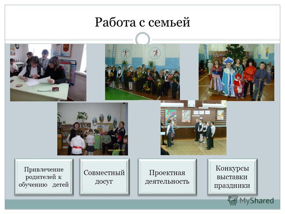 Работа с семьей Совместный досуг Конкурсы выставки праздники Проектная деятельность Привлечение родителей к обучению детей