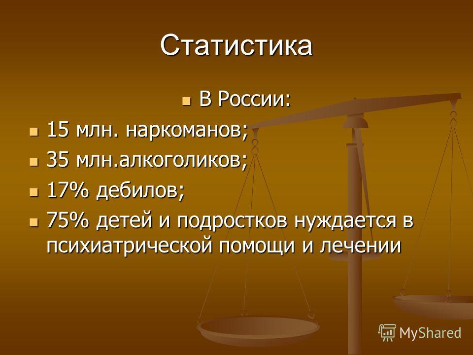 Статистика В России: В России: 15 млн. наркоманов; 15 млн. наркоманов; 35 млн.алкоголиков; 35 млн.алкоголиков; 17% дебилов; 17% дебилов; 75% детей и подростков нуждается в психиатрической помощи и лечении 75% детей и подростков нуждается в психиатрич