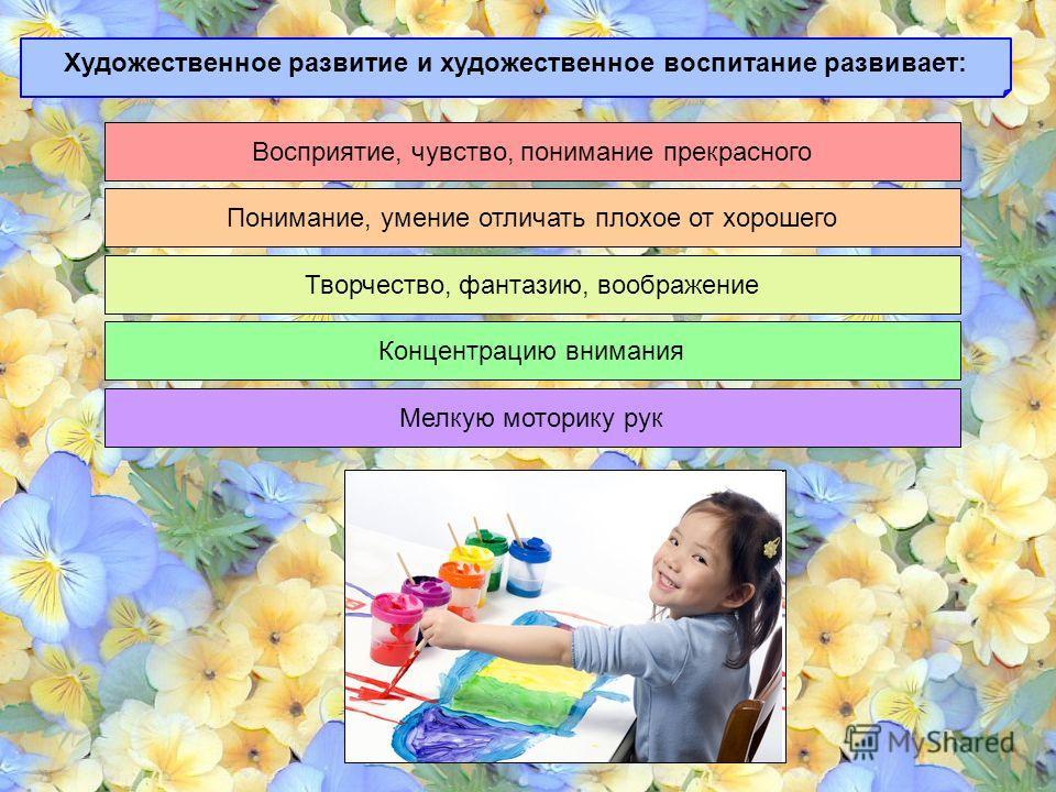 Художественное развитие и художественное воспитание развивает: Восприятие, чувство, понимание прекрасного Понимание, умение отличать плохое от хорошего Творчество, фантазию, воображение Концентрацию внимания Мелкую моторику рук