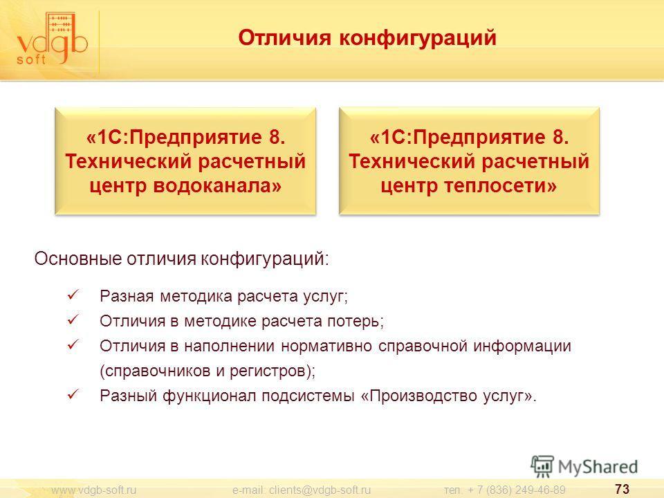 Отличия конфигураций Основные отличия конфигураций: Разная методика расчета услуг; Отличия в методике расчета потерь; Отличия в наполнении нормативно справочной информации (справочников и регистров); Разный функционал подсистемы «Производство услуг».