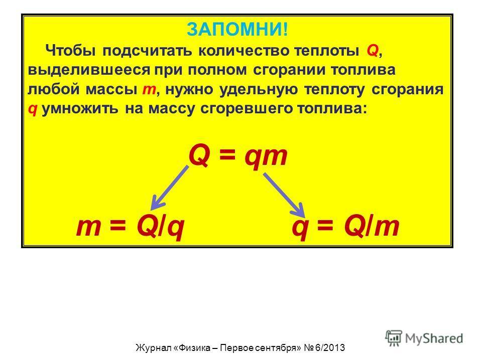 ЗАПОМНИ! Чтобы подсчитать количество теплоты Q, выделившееся при полном сгорании топлива любой массы m, нужно удельную теплоту сгорания q умножить на массу сгоревшего топлива: Q = qm m = Q/q q = Q/m Журнал «Физика – Первое сентября» 6/2013