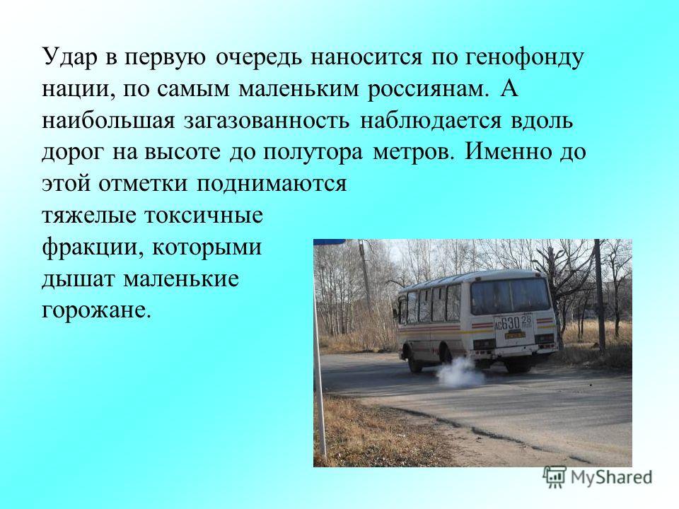Удар в первую очередь наносится по генофонду нации, по самым маленьким россиянам. А наибольшая загазованность наблюдается вдоль дорог на высоте до полутора метров. Именно до этой отметки поднимаются тяжелые токсичные фракции, которыми дышат маленькие