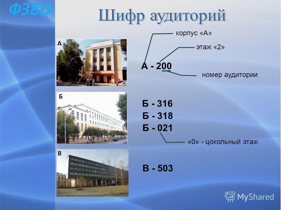 А - 200 корпус «А» этаж «2» номер аудитории Б - 316 Б - 318 Б - 021 «0» - цокольный этаж В - 503