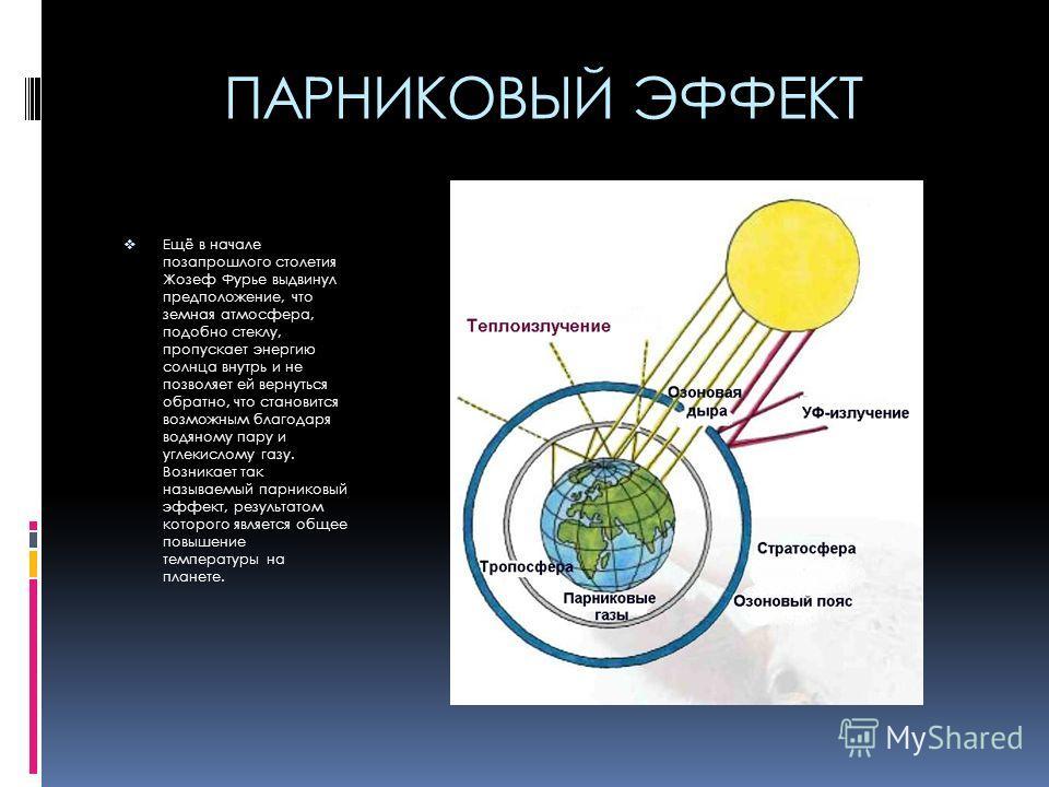 ПАРНИКОВЫЙ ЭФФЕКТ Ещё в начале позапрошлого столетия Жозеф Фурье выдвинул предположение, что земная атмосфера, подобно стеклу, пропускает энергию солнца внутрь и не позволяет ей вернуться обратно, что становится возможным благодаря водяному пару и уг