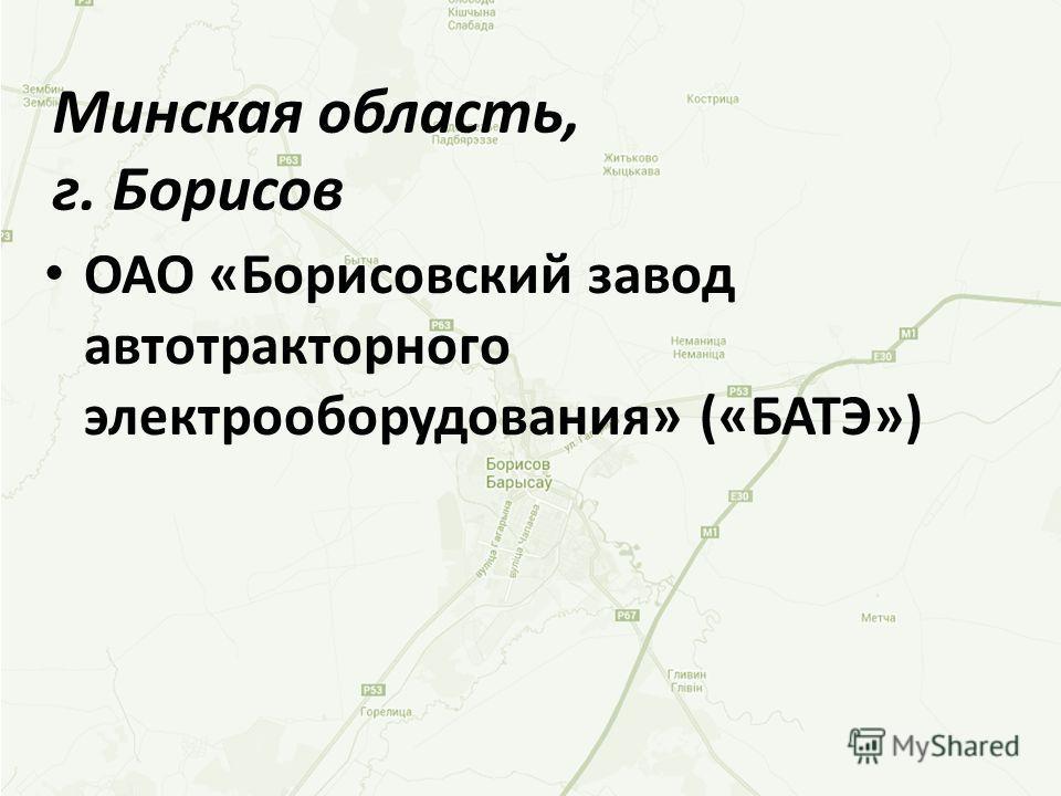 ОАО «Борисовский завод автотракторного электрооборудования» («БАТЭ») Минская область, г. Борисов