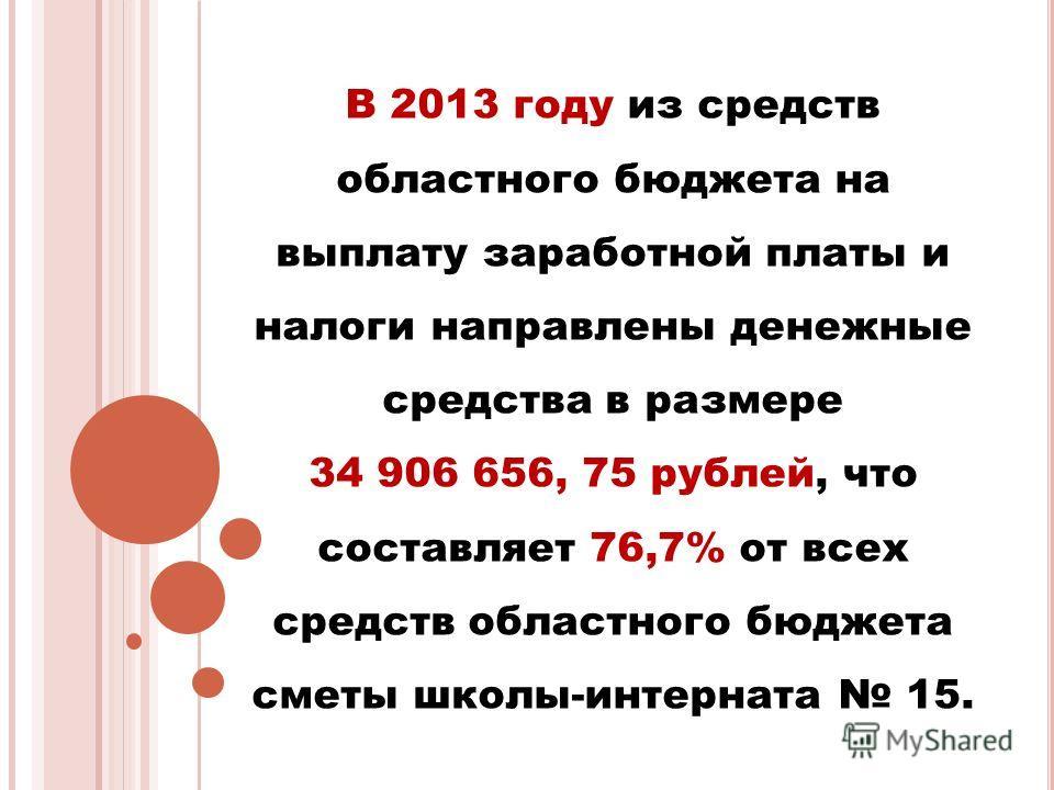 В 2013 году из средств областного бюджета на выплату заработной платы и налоги направлены денежные средства в размере 34 906 656, 75 рублей, что составляет 76,7% от всех средств областного бюджета сметы школы-интерната 15.
