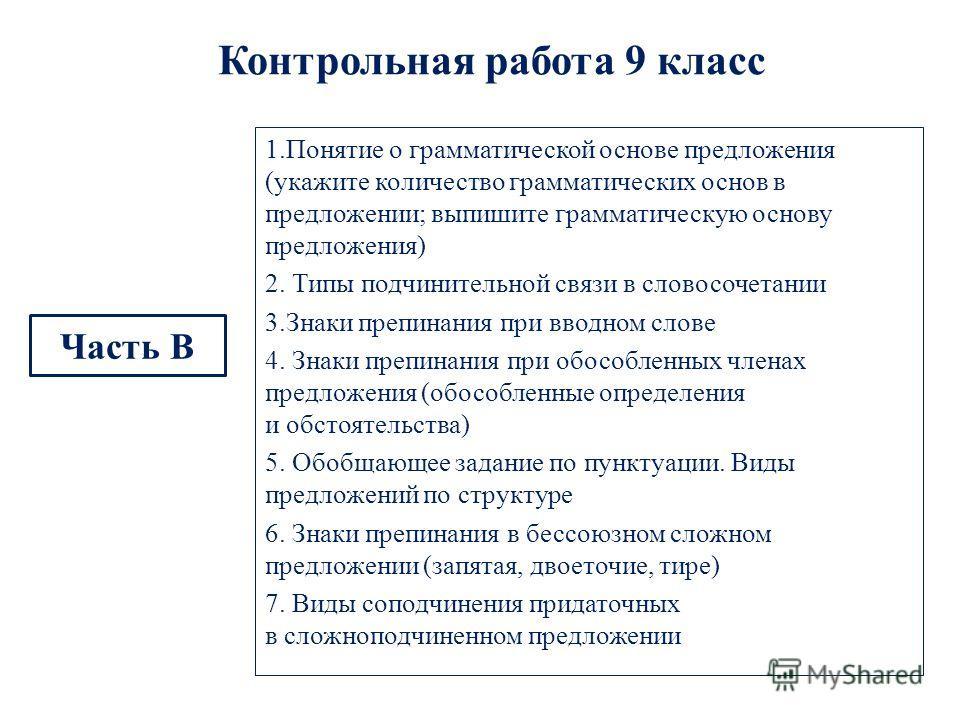 Контрольная работа 9 класс Часть В 1.Понятие о грамматической основе предложения (укажите количество грамматических основ в предложении; выпишите грамматическую основу предложения) 2. Типы подчинительной связи в словосочетании 3.Знаки препинания при