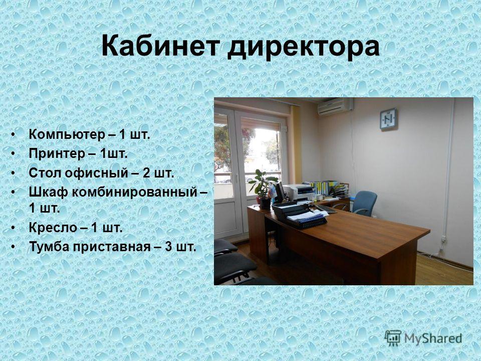 Кабинет директора Компьютер – 1 шт. Принтер – 1 шт. Стол офисный – 2 шт. Шкаф комбинированный – 1 шт. Кресло – 1 шт. Тумба приставная – 3 шт.