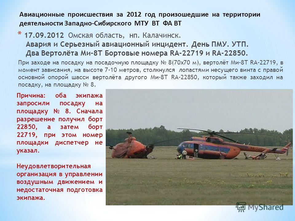 * 17.09.2012 Омская область, нп. Калачинск. Авария и Серьезный авиационный инцидент. День ПМУ. УТП. Два Вертолёта Ми-8Т Бортовые номера RA-22719 и RA-22850. При заходе на посадку на посадочную площадку 8(70х70 м), вертолёт Ми-8Т RA-22719, в момент за